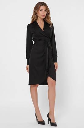 Красивое шелковое платье с запахом черного цвета, фото 2