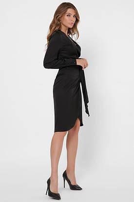 Красивое шелковое платье с запахом черного цвета, фото 3
