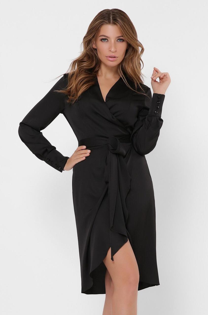 Красивое шелковое платье с запахом черного цвета