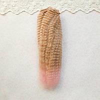 Волосы для кукол мини гофре, персик с розовым омбре   - 15 см