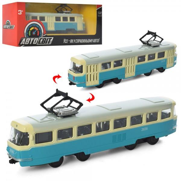 Трамвай АвтоСвіт 1:87,метал,інер-й, 16,5 см