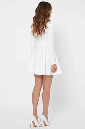 Белое платье с юбкой солнце клеш в деловом стиле, фото 3