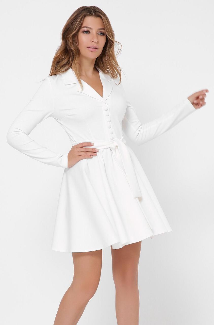 Белое платье с юбкой солнце клеш в деловом стиле