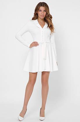 Белое платье с юбкой солнце клеш в деловом стиле, фото 2