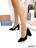 Туфли  женские  демисезонные черные  на устойчивом  каблуке  8 см