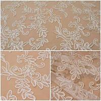 Кружевная ткань расшитая пайеткой A002 ivory, м