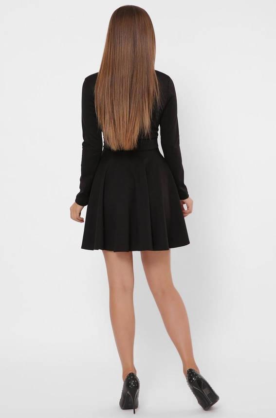 Черное расклешенное платье с юбкой солнце в деловом стиле, фото 2