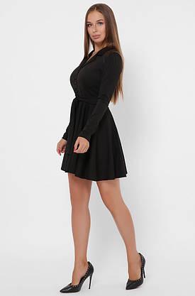 Черное расклешенное платье с юбкой солнце в деловом стиле, фото 3