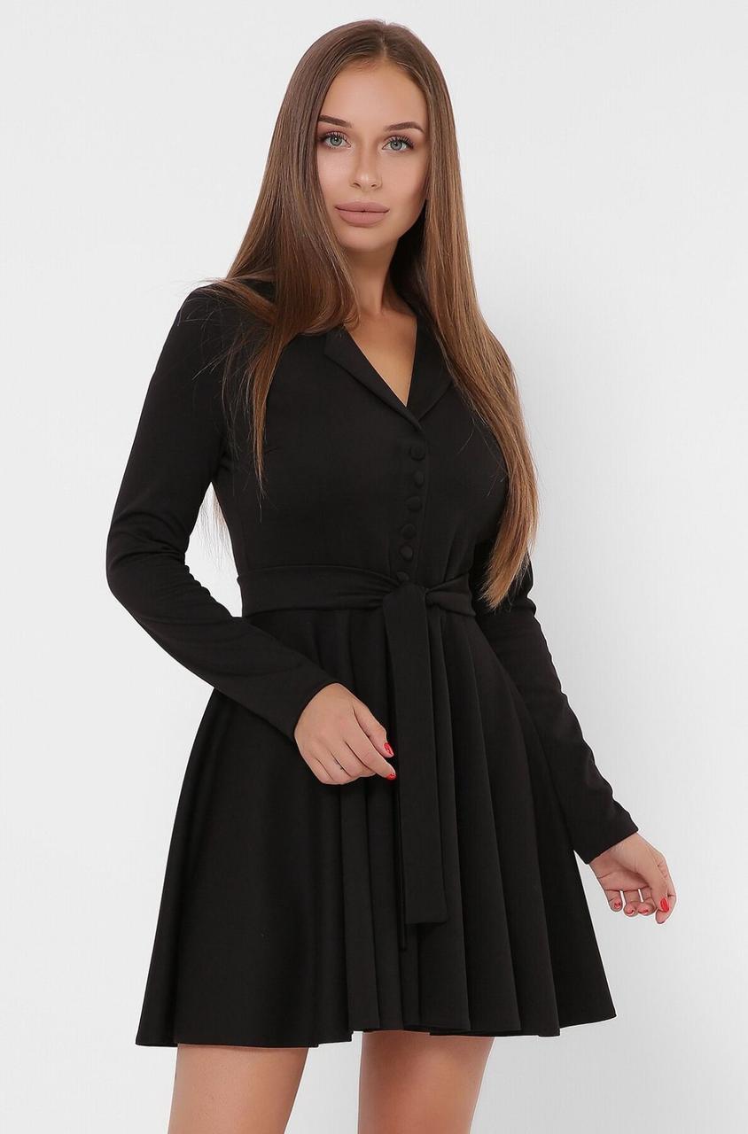 Черное расклешенное платье с юбкой солнце в деловом стиле
