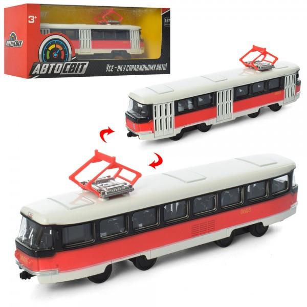 Трамвай АвтоСвіт 1:87,металл,инер-й, 16,5см