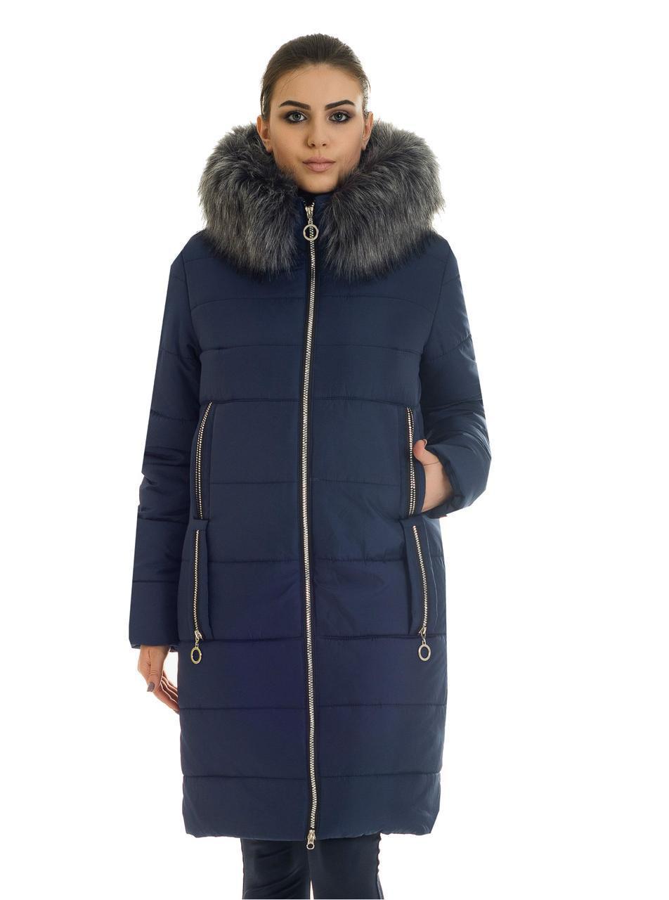 Жіноча куртка пуховик батал 42-48 синій