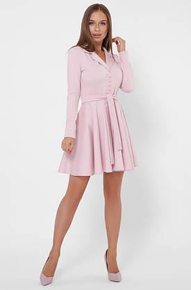 Трикотажное платье в деловом стиле цвета пудра, фото 3