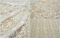 Кружевная ткань расшитая LV0466CL white, м