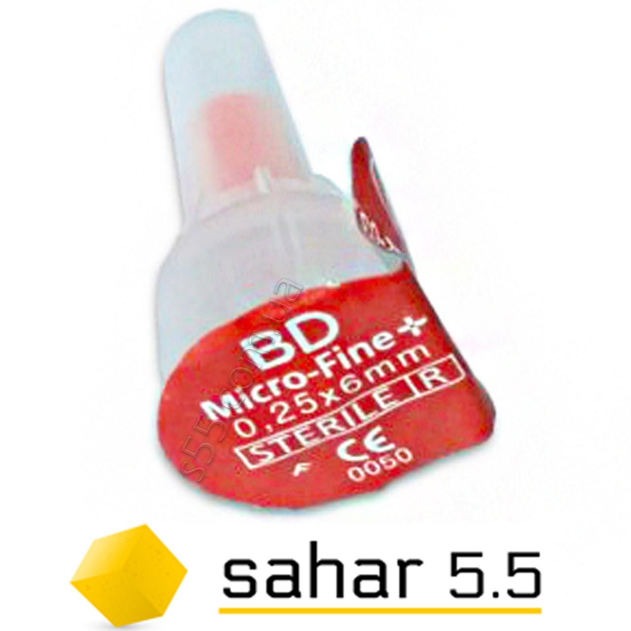 Поштучно иглы инсулиновые Микро-Файн 6мм, 100шт. - BD Micro-Fine Plus 31G