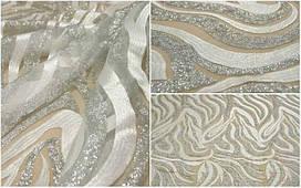Кружевная ткань расшитая пайеткой MX163 ivory+silver, м