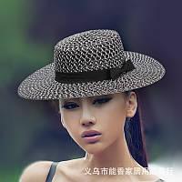 Женская плетенная пляжная шляпа