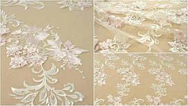 Мереживна тканина розшита MX285 ivory+pink, м