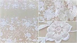 Мереживна тканина розшита MX286 ivory, м