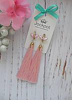 Стильні рожеві сережки китиці з кристалами ручна робота