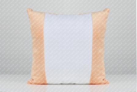 Подушка плюшевая 40х40см с цветными вставками для сублимации ПЕРСИКОВАЯ