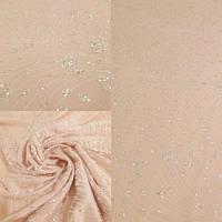 Кружевная ткань с напылением 221-743 молочное, м