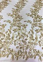 Кружевная ткань с напылением-блеск 626 золото, м