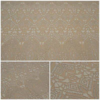 Кружевная ткань с напылением-жемчуг B1-1 ivory+silver, м