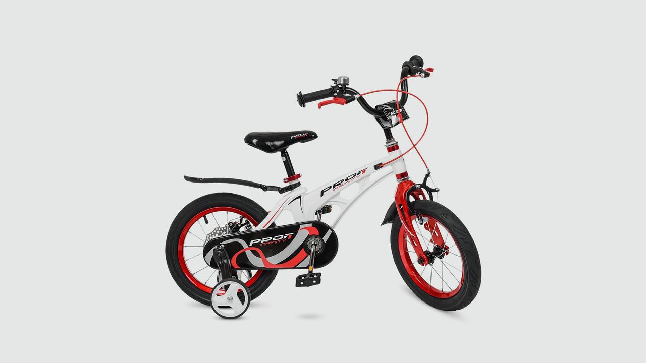 Велосипед детский 14д. LMG14202. PROF1. Магниевая рама.Бело -красный.Звонок.