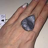 Натуральный агат друза кольцо капля с натуральным камнем агат в серебре. Кольцо с агатом 16,5-17 Индия, фото 4