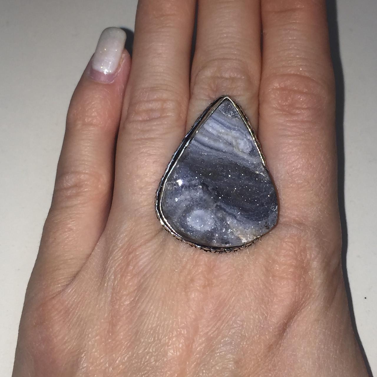 Натуральный агат друза кольцо капля с натуральным камнем агат в серебре. Кольцо с агатом 16,5-17 Индия