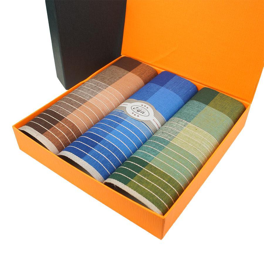 Набор мужских носовых платков в полоску в подарочной упаковке EGA 3 шт CH-561/3 С