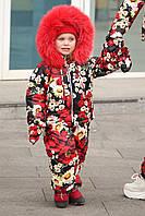 Детский зимний костюм и комбинезон с натуральным мехом и на овчине,варежки в комплекте, фото 1