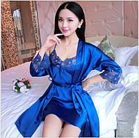 Комплект нижньої білизни Халат пеньюар + нічна сорочка синій, фото 1