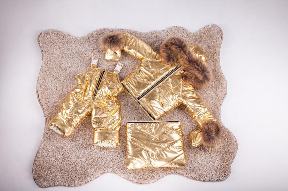 Детский зимний комбинезон трансформер от 0 до 2 лет. Комбинезон три в одном с натуральным мехом енот