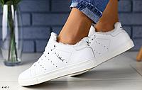 Кроссовки белые Adidas Stan Smith на меху зимние из натуральной кожи