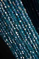 Хрусталь на нитке #4 ромб синий АВ(120шт)