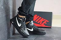 Мужские кроссовки высокие Nike Air Force 1 найк черные с белым