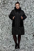 Женский утепленный плащ со вставками из гипюра больших размеров 54-72