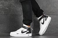 Мужские кроссовки высокие Nike Air Force 1 найк белые с черным