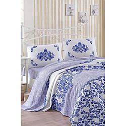 Покрывало пике Eponj Home - Hunkar mavi голубой вафельное 200*235 см