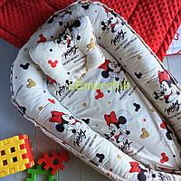 Гнездо-кокон для новорожденного 85Х40 см (подушка для беременной, подушка для кормления) Микки