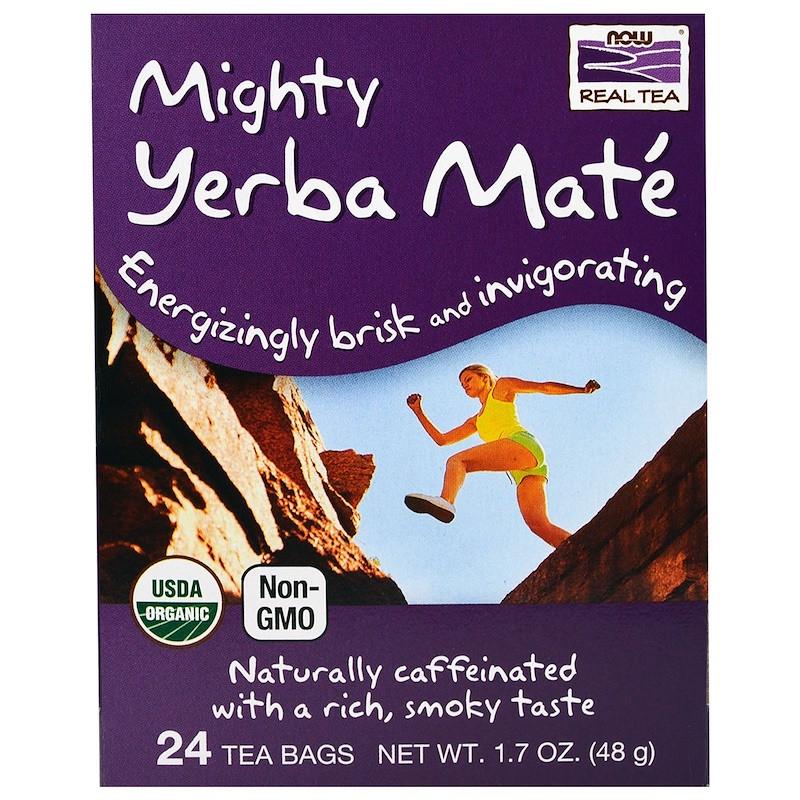 "Чай мате NOW Foods, Real Tea ""Mighty Yerba Mate"" без кофеїну, 24 пакетики (48 м)"