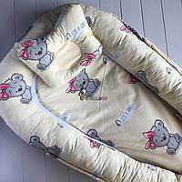 Гнездо-кокон для новорожденного 85Х40 см (подушка для беременной, подушка для кормления)+подушка Мишки желтый