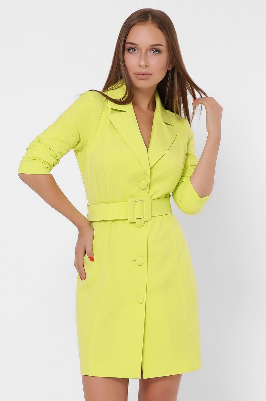 Платье-пиджак приталенное с поясом салатного цвета