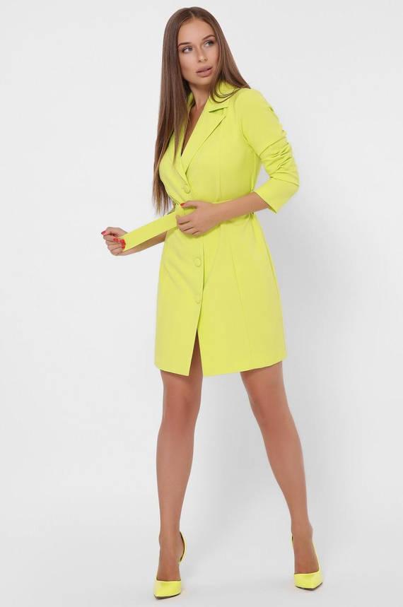 Платье-пиджак приталенное с поясом салатного цвета, фото 2