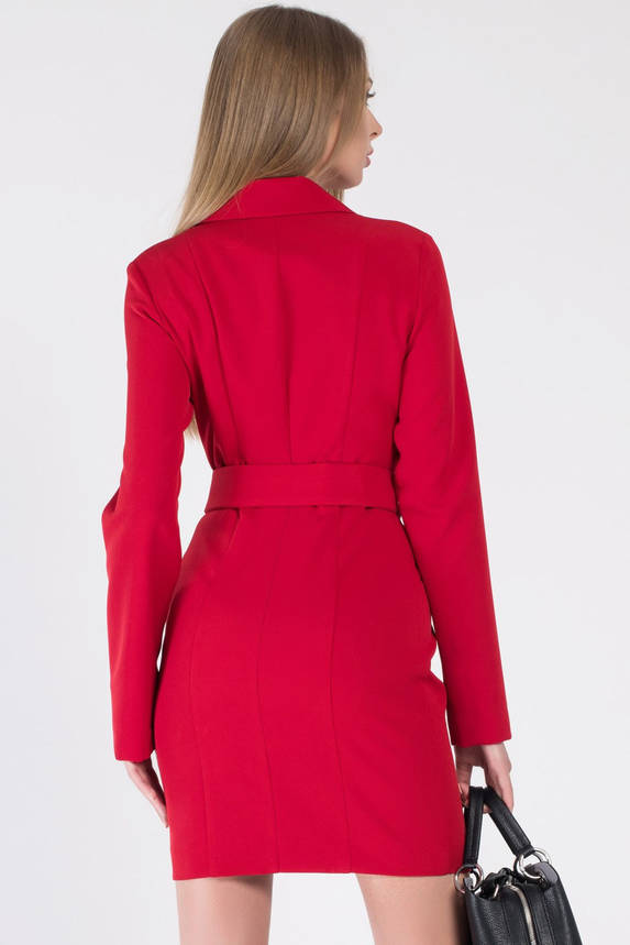 Красное платье-пиждак длиной мини в деловом стиле, фото 2