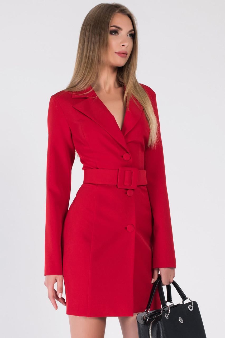 Красное платье-пиждак длиной мини в деловом стиле