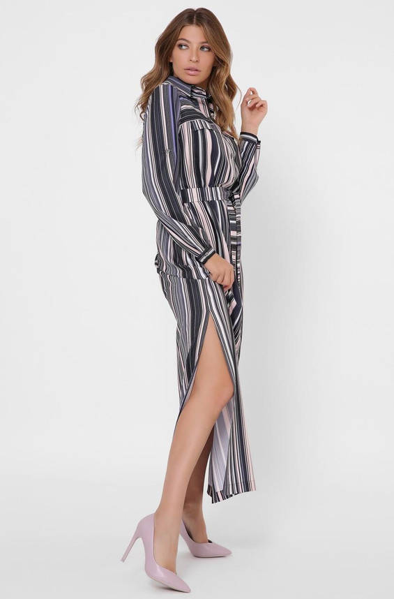 Шифоновое платье-рубашка длиной макси в полоску, фото 2