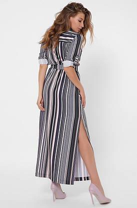 Шифоновое платье-рубашка длиной макси в полоску, фото 3