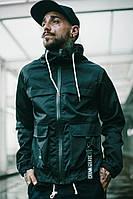 Куртка-ветровка черная с капюшоном мужская молодежная крутая легкая от Crown Grade